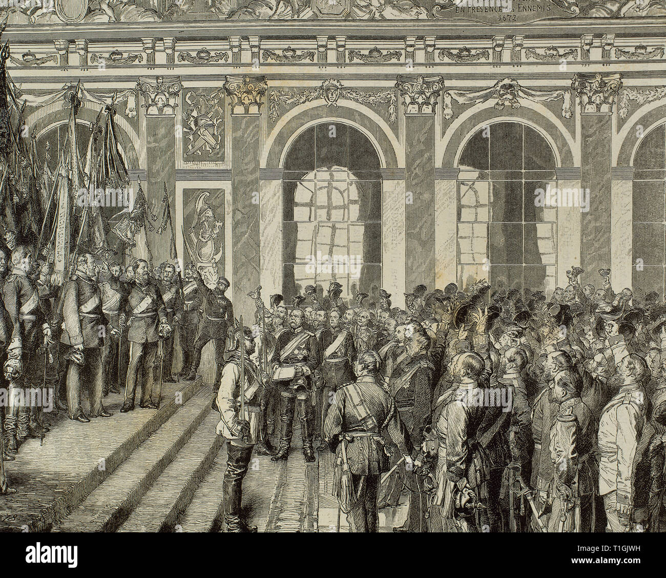 Wilhelm I (1797-1888). King of Prussia and German Emperor. Proclamation of Wilhelm I as the first German Emperor in the Hall of Mirrors of the Palace of Versailles, on January 18th, 1871. Otto von Bismarck read out the proclamation. Engraving by A. Closs. - Stock Image