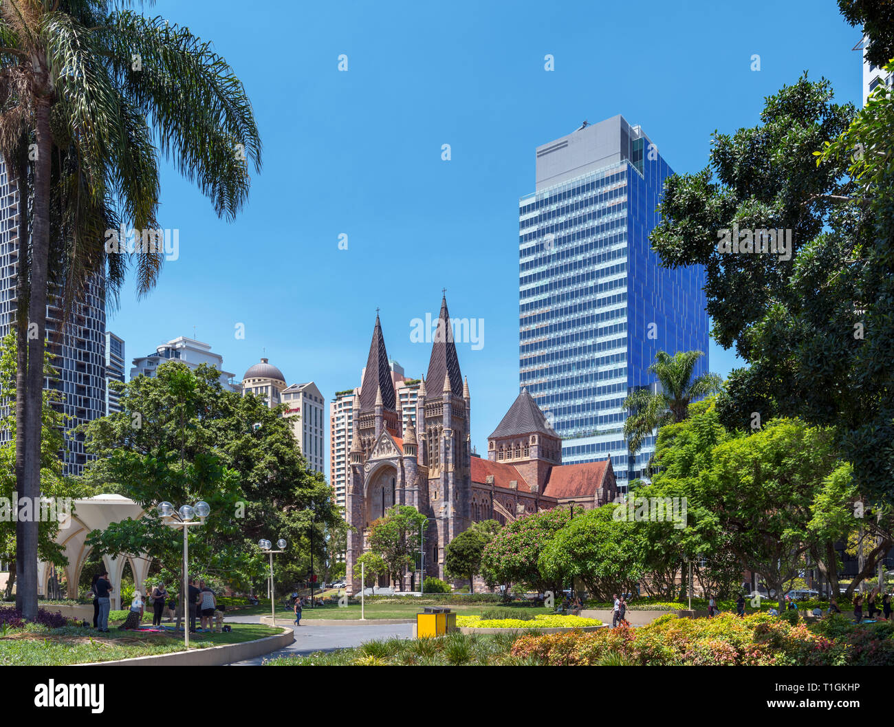 Brisbane Cathedral. St John's Cathedral, Cathedral Square, Central Business District, Brisbane, Queensland, Australia - Stock Image