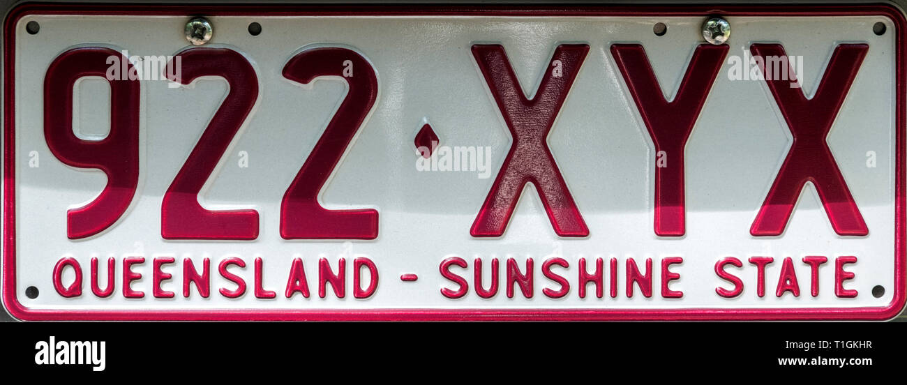 Queensland Number Plate, Australia - Stock Image