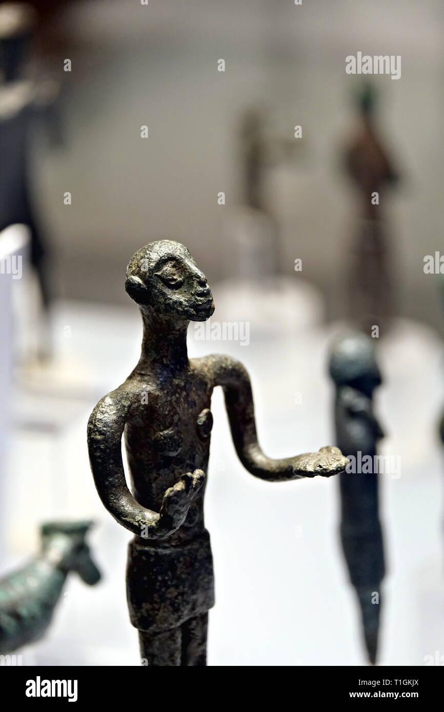 Nuragic bronze at museum - Stock Image