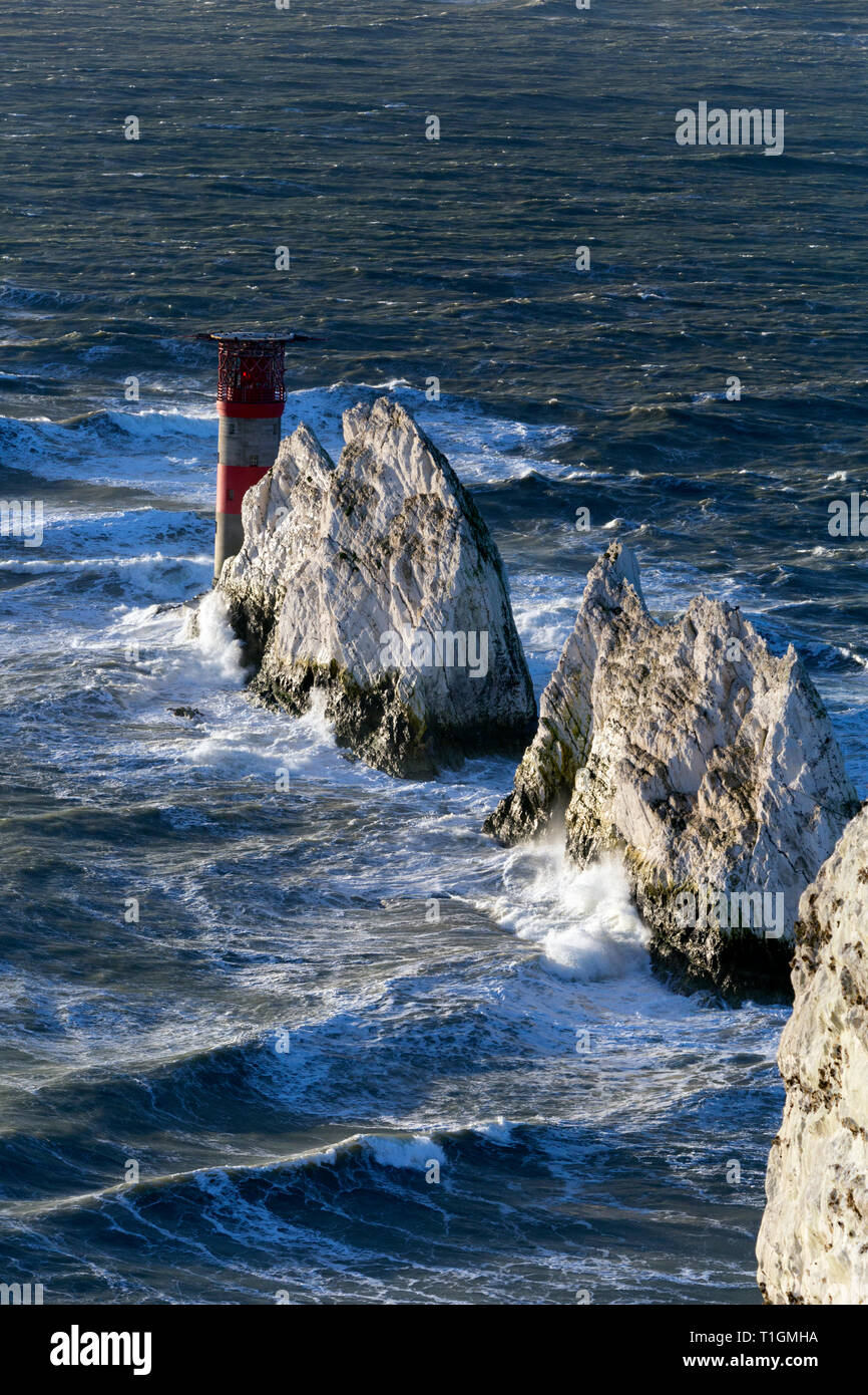 UK Weather.Very rough weather and high winds off The Needles,More wind and rain batters the United Kingdom from Atlantic weather systems Isle of Wight - Stock Image