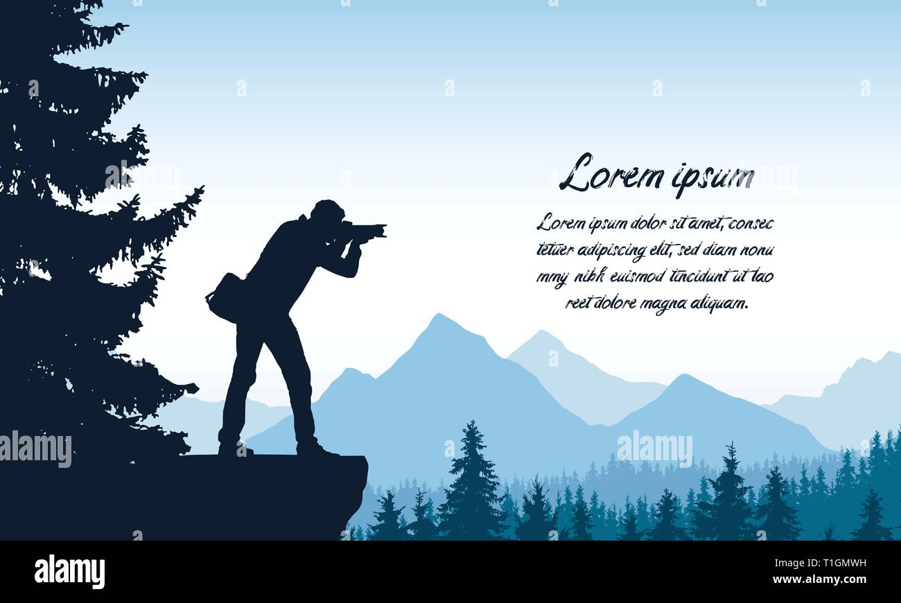 Set realistic silhouettes of male photographer standing on rock with camera. Mountain landscape with forest under blue sky, with space for text - vect - Stock Vector