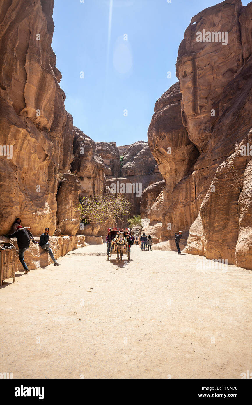 PETRA, JORDAN - MARCH 15, 2019: Tourists take a scenic ride inside the canyons of Petra with a horse-drawn wagon. - Stock Image