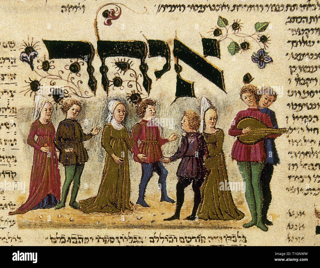 The Rothschild Miscellany (1450-1480). Northern Italy. Compendium of customs in the daily and religious life of Judaism. Hebrew. Folio 233. Dance. Miniature depicting a traditional dance of spouses in the Italy at that tiime, excluding singles. The Israel Museum. Jerusalem, Israel. - Stock Image
