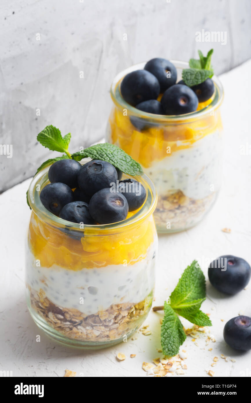 Glass of yogurt with blueberries and mango mousse, chia seed and oat granola - Stock Image