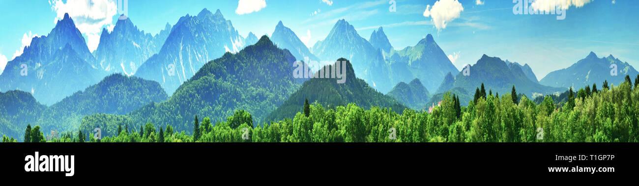 Panorama of summer Alps, Bavaria, Germany Stock Photo