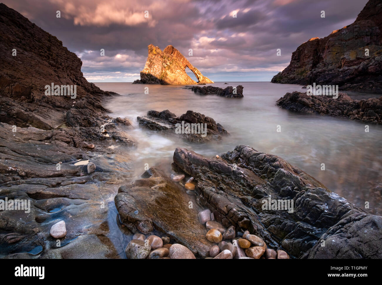 Bow Fiddle Rock, near Portnockie, Moray Coast, North East Scotland, Scotland, UK - Stock Image
