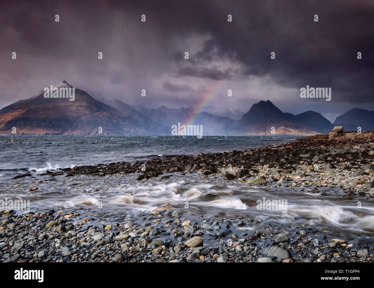 Elgol Rainbow, Black Cuillin Hills and Loch Scavaig from Elgol, Isle of Skye, Inner Hebrides, Scotland, UK - Stock Image