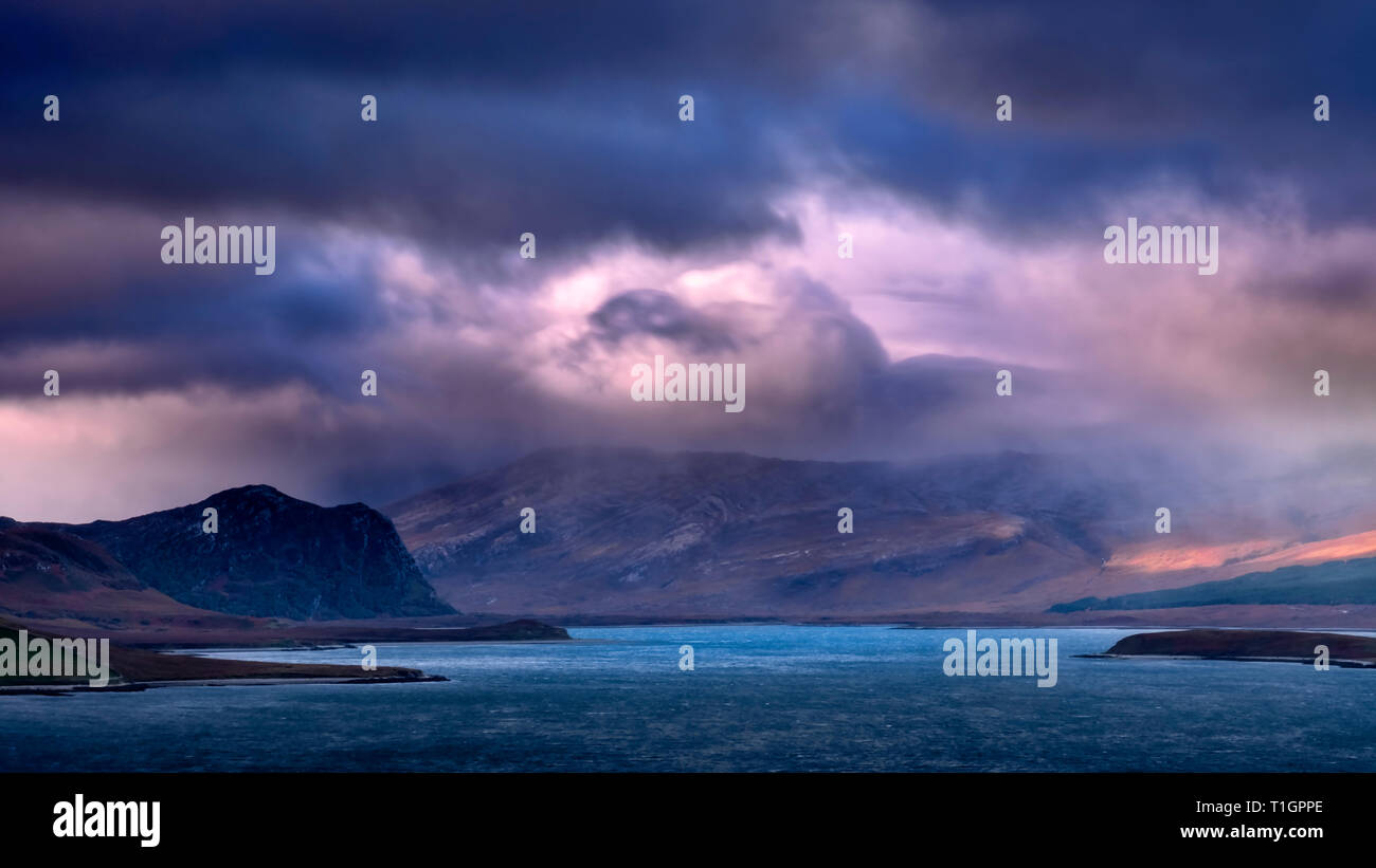 Dramatic Cloudscape over Loch Eriboll , Sutherland, Scottish Highlands, Scotland, UK - Stock Image