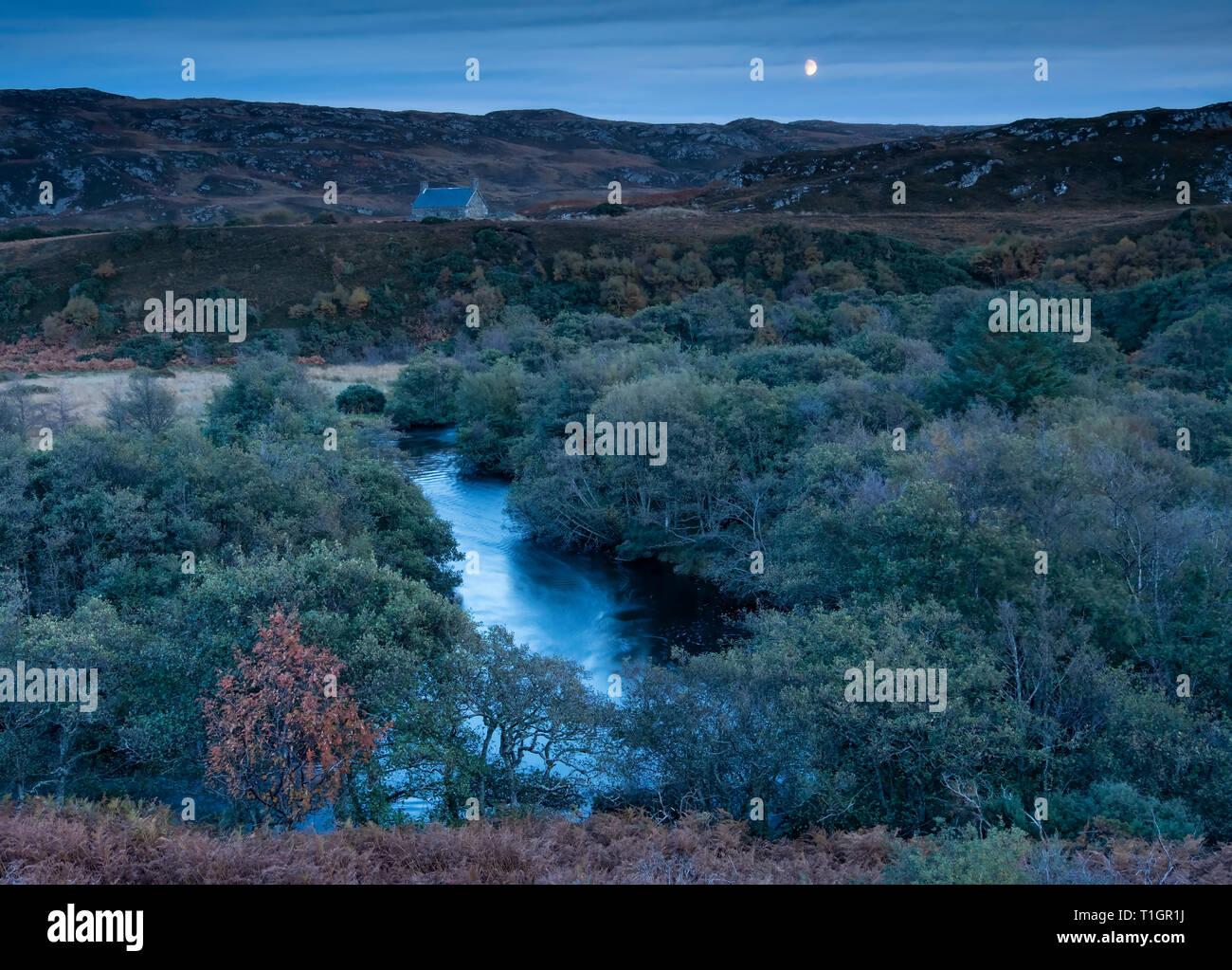 Moonrise over Scottish Bothy & River Borgie, near Torrisdale, Sutherland, Scottish Highlands, Scotland, UK - Stock Image