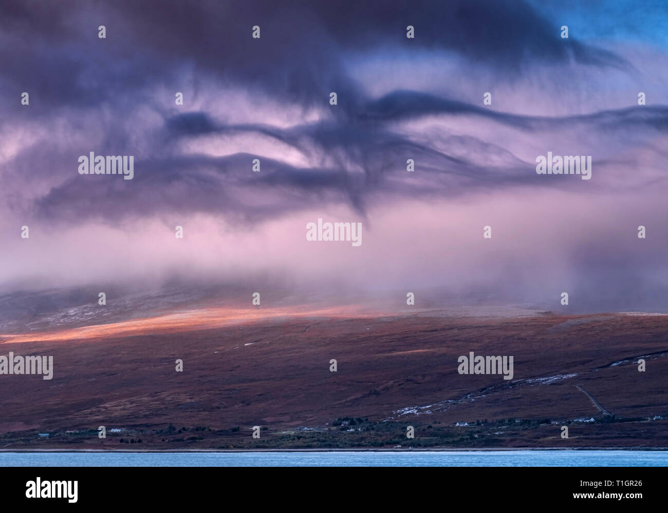 Big Skies over Laid, Crofting Hamlet on the shore of Loch Eriboll, Sutherland, Scottish Highlands, Scotland, UK - Stock Image
