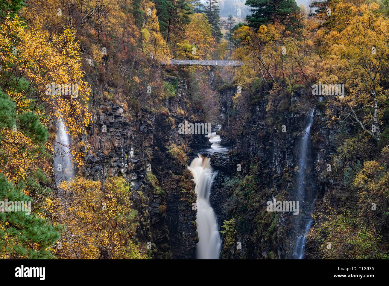 The Corrieshalloch Gorge, Falls of Measach and River Droma, near Ullapool, Ross and Cromarty, Scottish Highlands, Scotland, UK - Stock Image