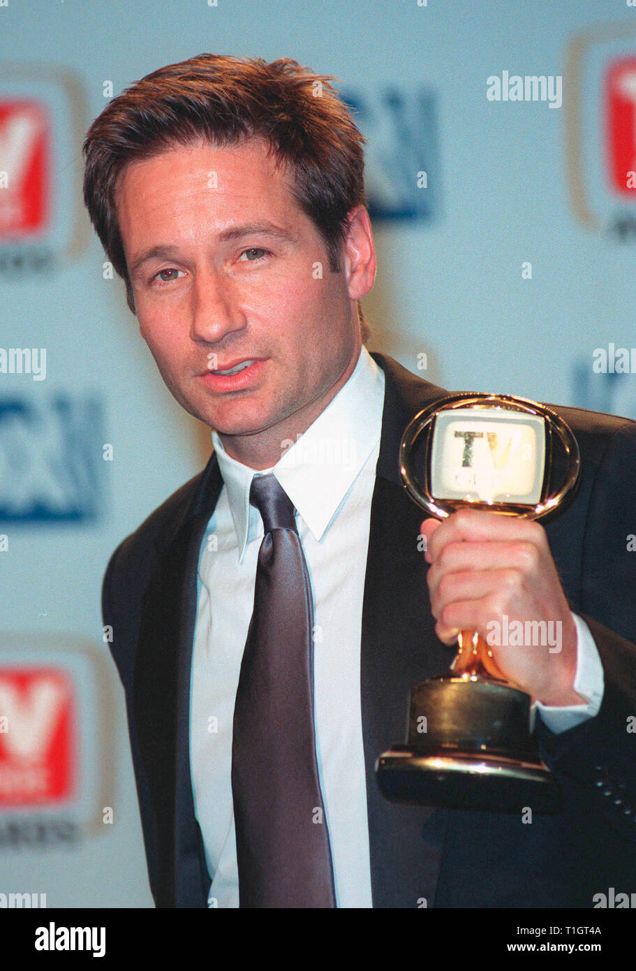 LOS ANGELES, CA - February 1, 1999:  'X-Files' star DAVID DUCHOVNY at the 1st Annual TV Guide Awards in Los Angeles. He show won for Favorite Actor in a Drama Series. © Paul Smith / Featureflash - Stock Image