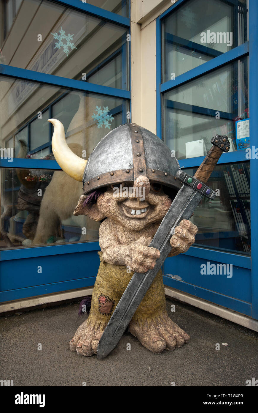 Statue of troll in Honningsvag, Mageroya Island, County Finnmark, Norway - Stock Image