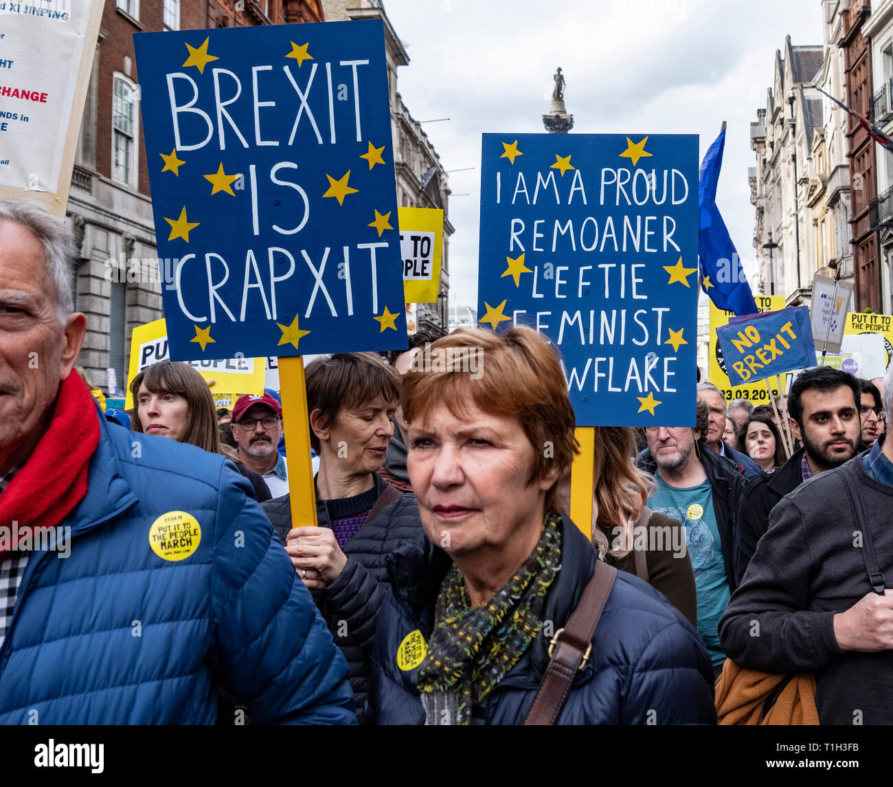 One million people marched through London on Peoples Vote anti-Brexit  protest 23 March 2019 - Stock Image