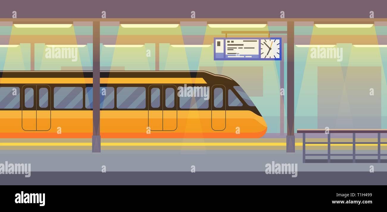 Modern passenger electric train in tunnel underground, subway, metro Stock Vector