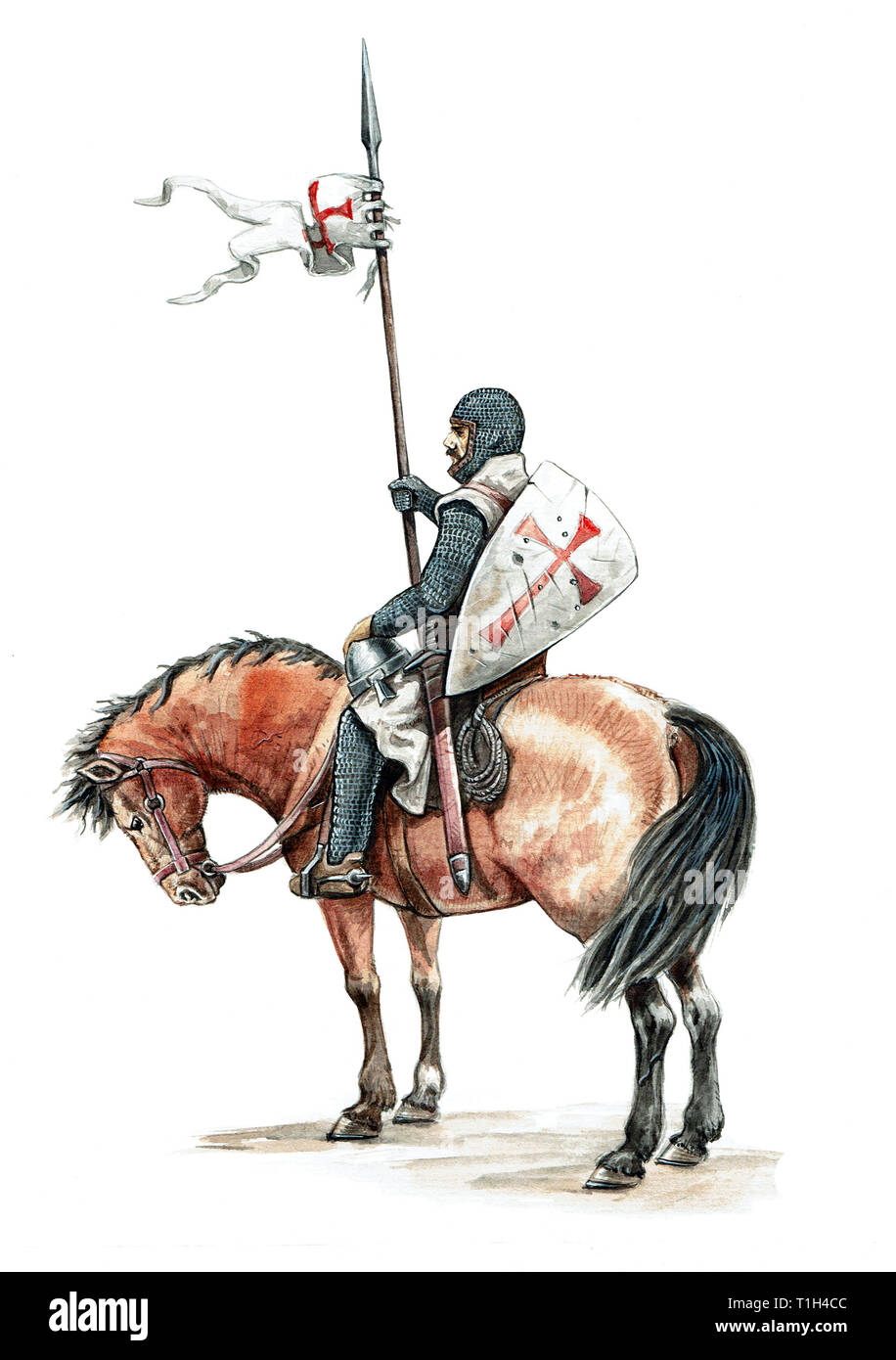 Medieval mounted knight. Templar knight on horseback.Knight illustration. - Stock Image