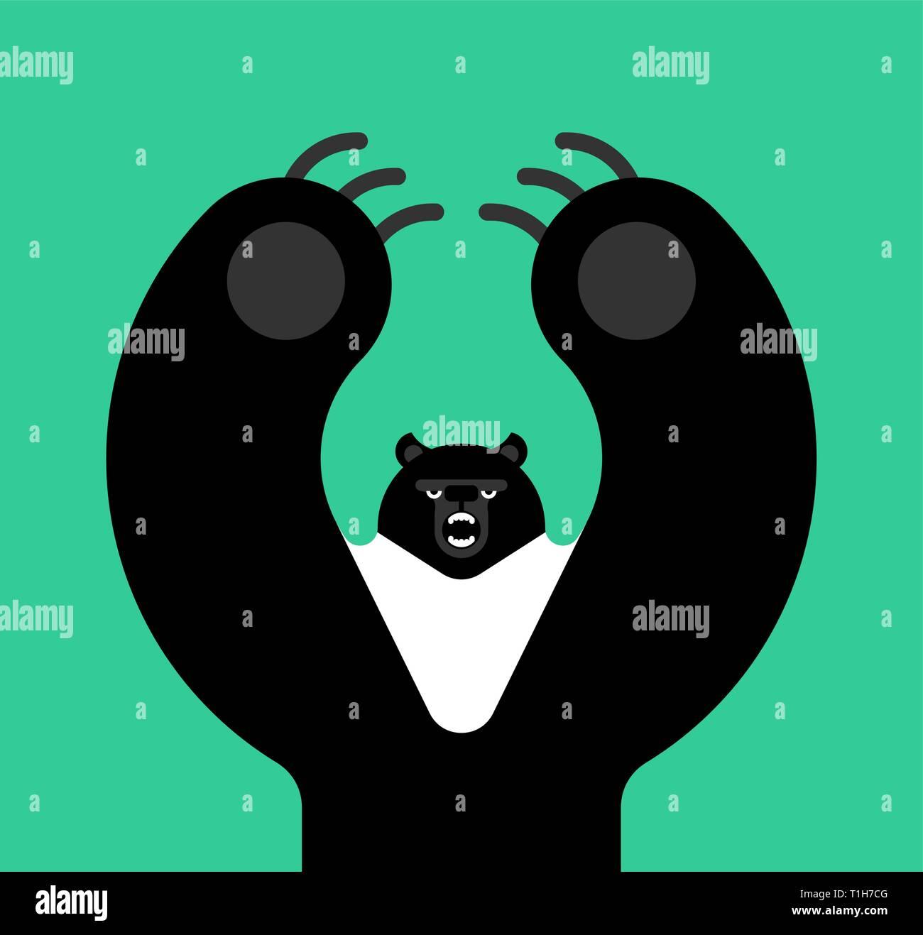 Himalayan bear black. Beast evil isolated cartoon style. big Wild predator attacks - Stock Vector