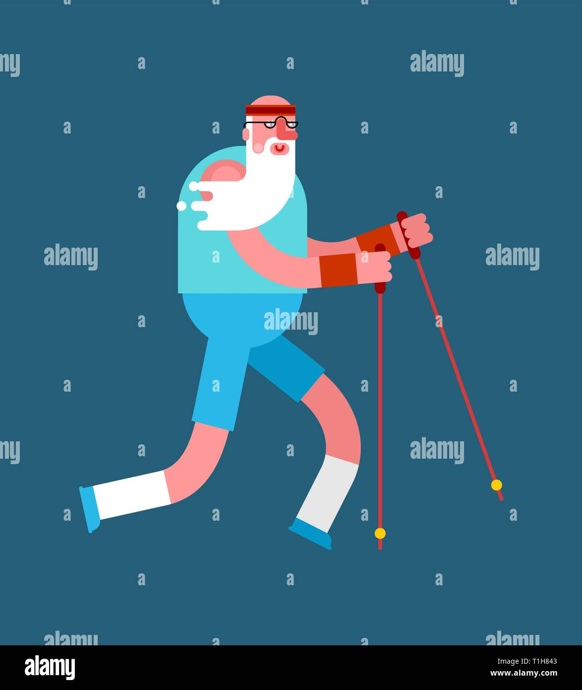 Old man Nordic walking isolated. Grandfather go with ski poles. Training for pensioners. Elderly runner - Stock Vector