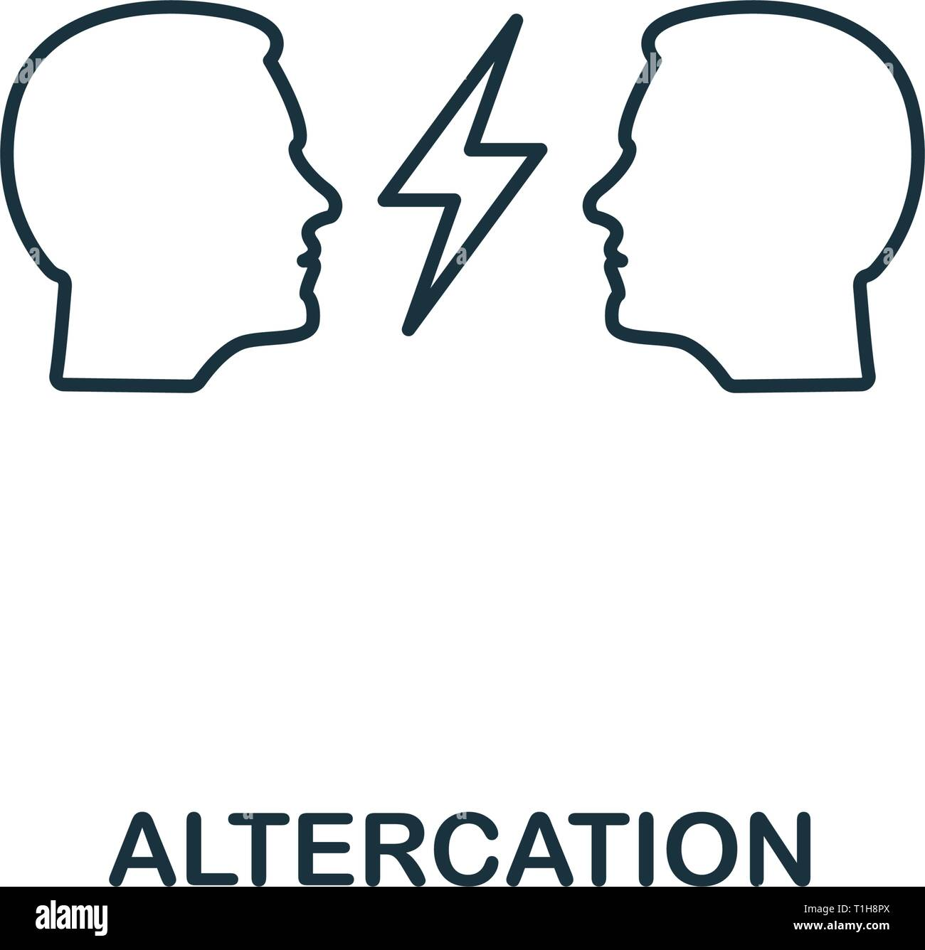 Altercation icon. Thin line design symbol from business ethics icons collection. Pixel perfect altercation icon for web design, apps, software, print  - Stock Vector