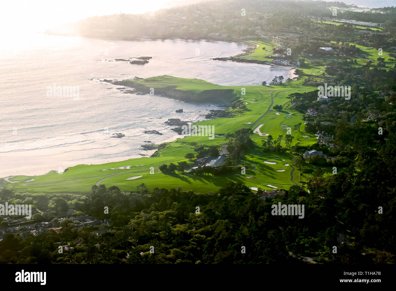 21st March, 2019  Pebble Beach, California, USA Aerial view over the iconic Pebble Beach Golf lLinks - venue for the 2019 US Open golf Championship as - Stock Image