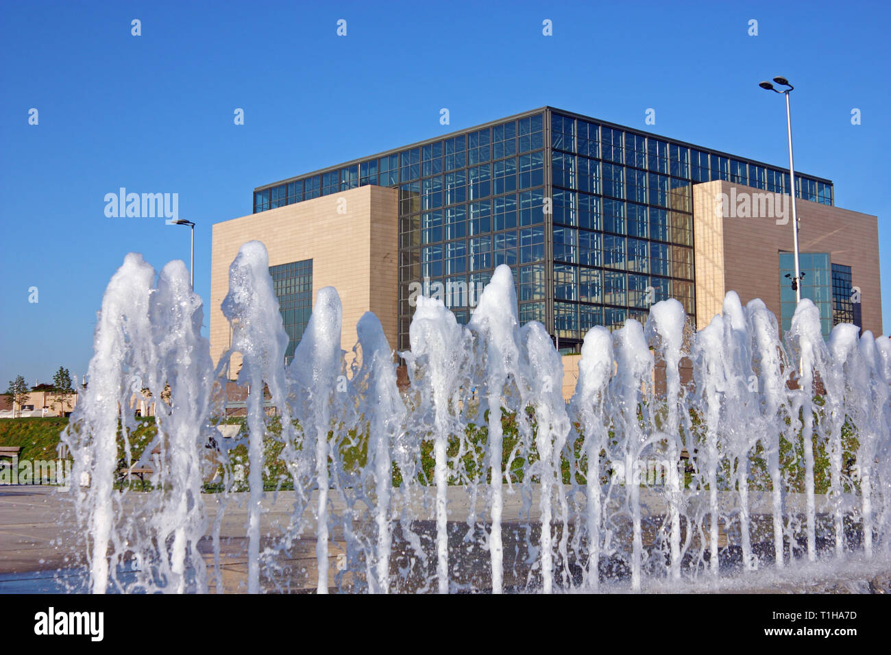 National and University Library in Zagreb behind water curtain,  is the national library of Croatia and central library of the University of Zagreb - Stock Image