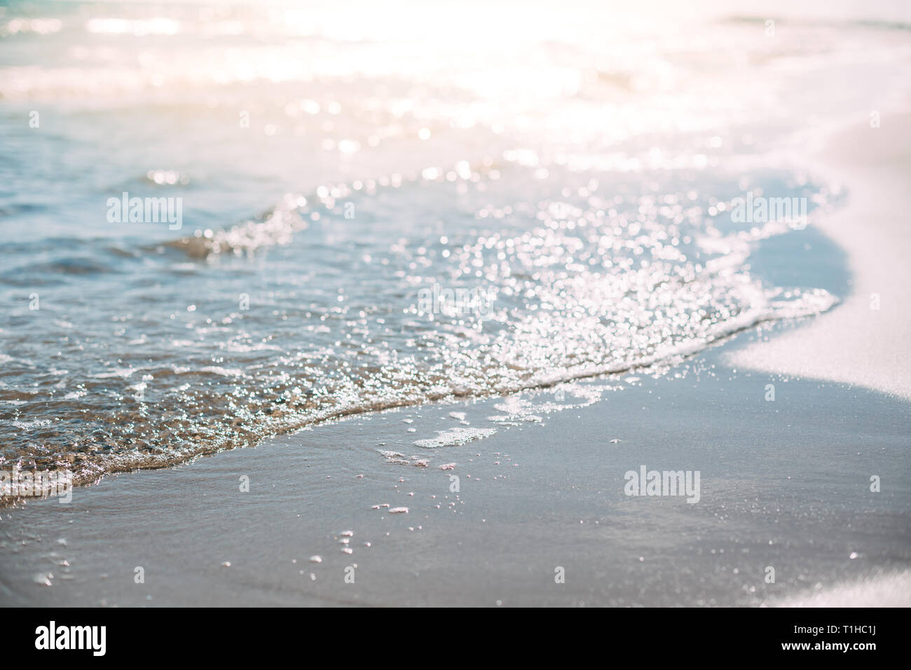 Summer Sand Beach And Seashore Waves Background Defocused Holiday