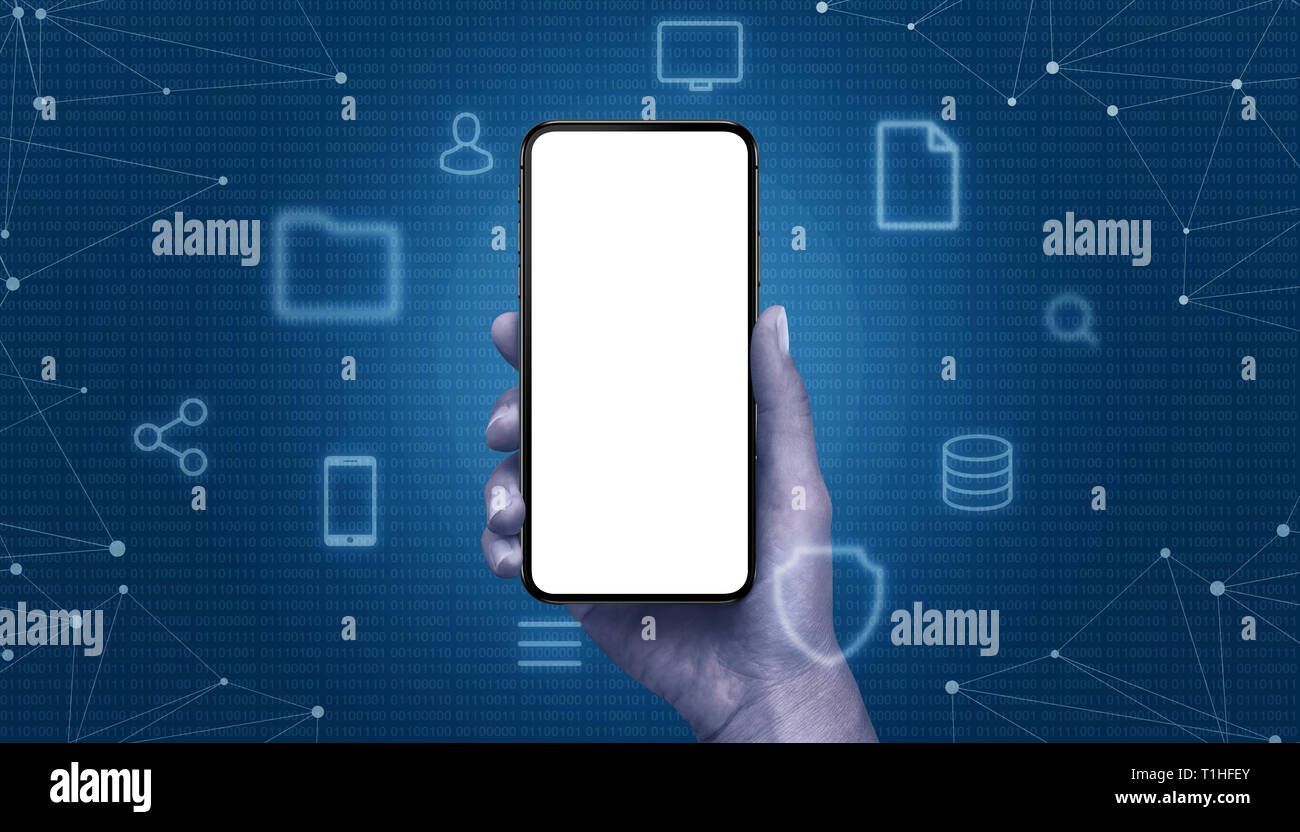 Phone mockup in hand surrounded with computing icons and metwork threads. Binary code in background. - Stock Image
