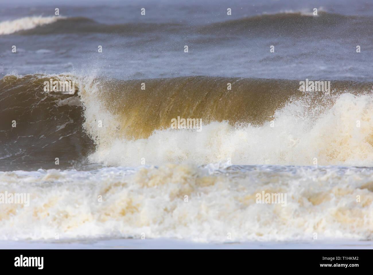 North Sea, waves, surf, tide, storm, North Sea island Langeoog, East Frisia, Lower Saxony, Stock Photo