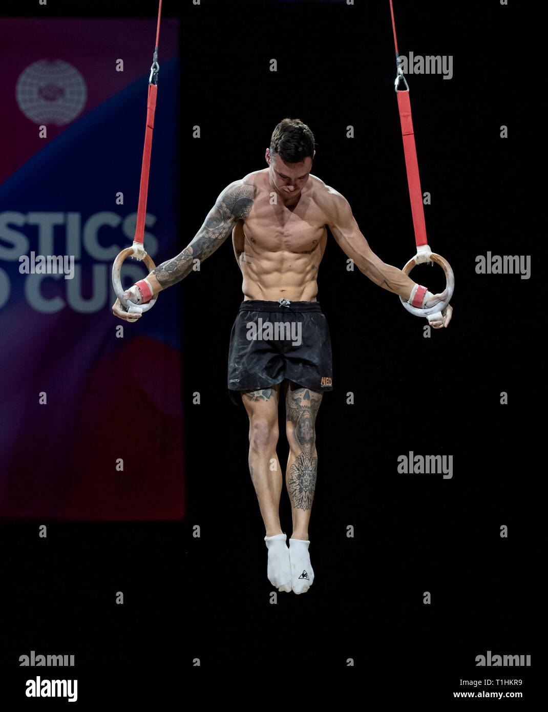 22.03.2019. Resorts World Arena, Birmingham, England. The Gymnastics World Cup 2019 Bart Deurloo (NED) during the Mens training session. - Stock Image