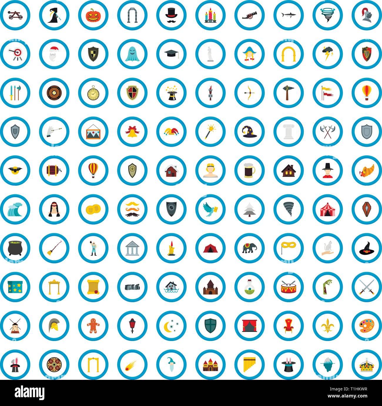 100 myth icons set, flat style - Stock Image