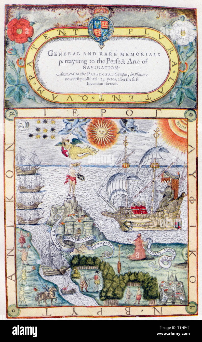 'Frontispiece of John Dee's 'General and Rare Memorials'', 1527, by John Dee (1527- c1608). John Dee was a Welsh mathematician, astrologer, occultist, navigator, imperialist and consultant to Queen Elizabeth I. In this work he advocates the rise of imperial expansion. In this highly symbolic frontispiece, Dee includes a figure of Britannia kneeling by the shore beseeching Elizabeth I, to protect her empire by strengthening her navy. - Stock Image