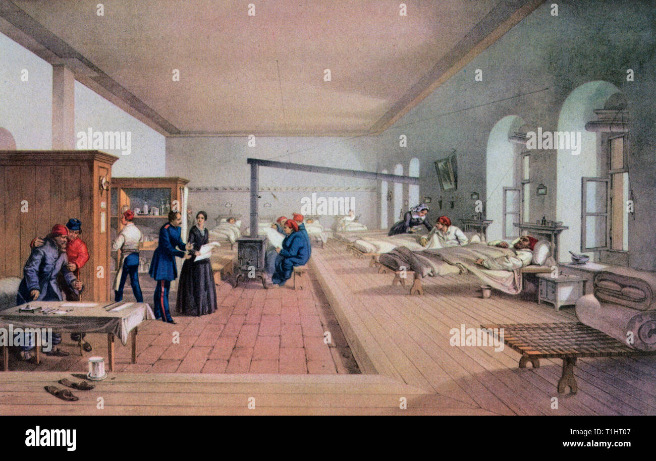 Florence Nightingale (1820-1910), inspecting one of the wards of a hospital at Scutari, during the Crimean War, 1856. By E Walker, after William Simpson (1823-1899). Nightingale  is famed for her work during the Crimean War, where she gained the title of 'The Lady With the Lamp'. She is also revered for having laid the foundations of professional nursing with the establishment of her nursing school at St Thomas's Hospital in London. - Stock Image