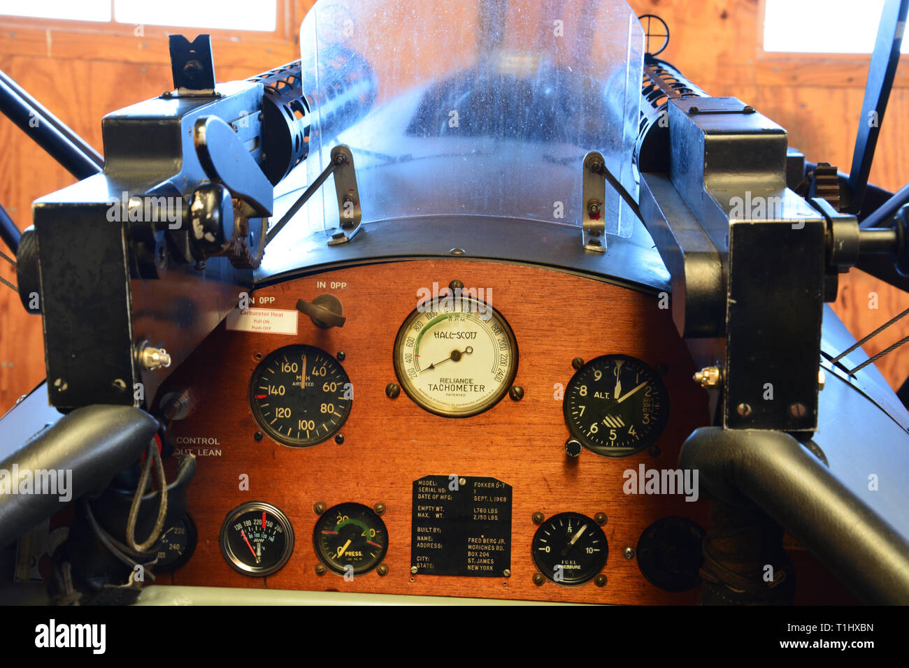 The cockpit instrument panel of a German WWI Biplane in a hanger at the Military Aviation Museum in Virginia Beach. Stock Photo