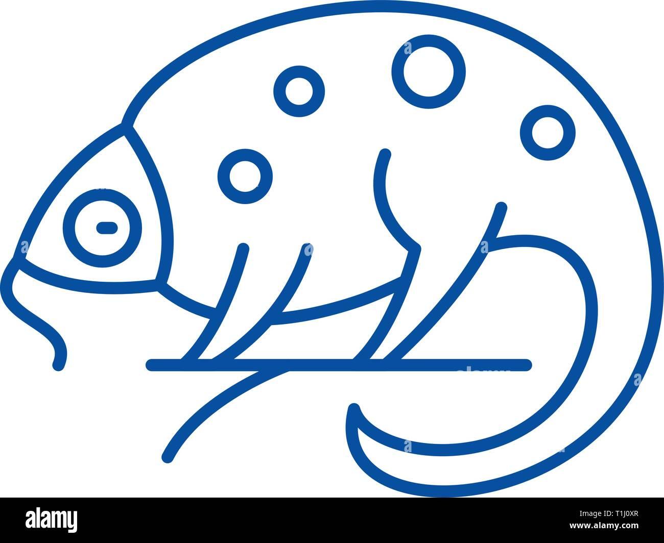 Chameleon line icon concept. Chameleon flat  vector symbol, sign, outline illustration. - Stock Vector