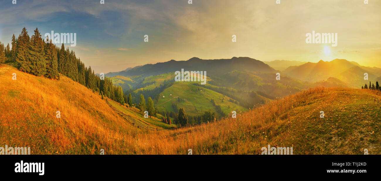 Highland at sunset Stock Photo