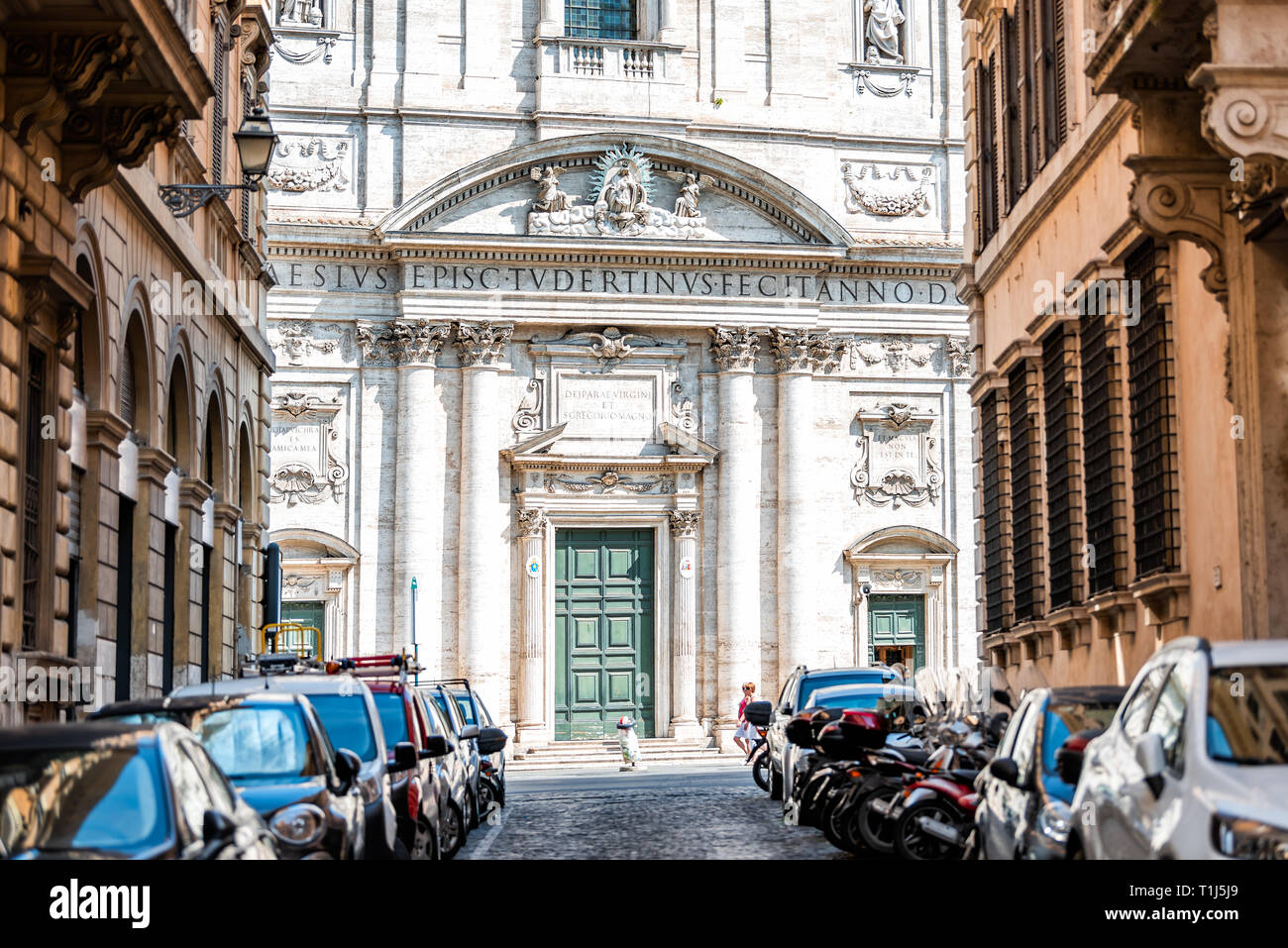 Rome, Italy - September 4, 2018: Historic city with church Oratory of Saint Philip Neri summer day between buildings on street alley exterior Vicolo d Stock Photo