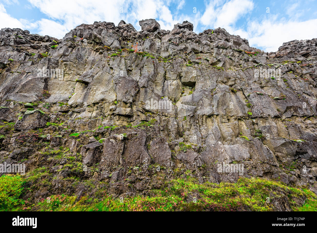 Thingvellir, Iceland National Park canyon continental divide plate during day landscape wide angle closeup on Golden circle Stock Photo