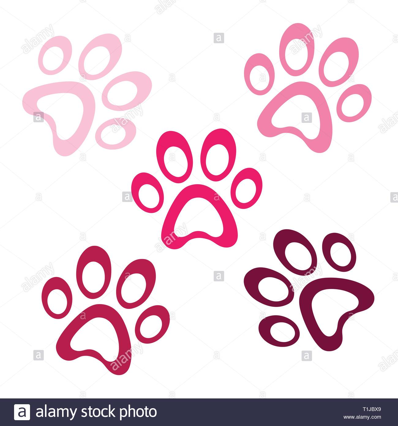 Pink set paws vector shape multicolored icon, animal paw icons isolated, graphic footprint, simple pets element illustration - Stock Vector