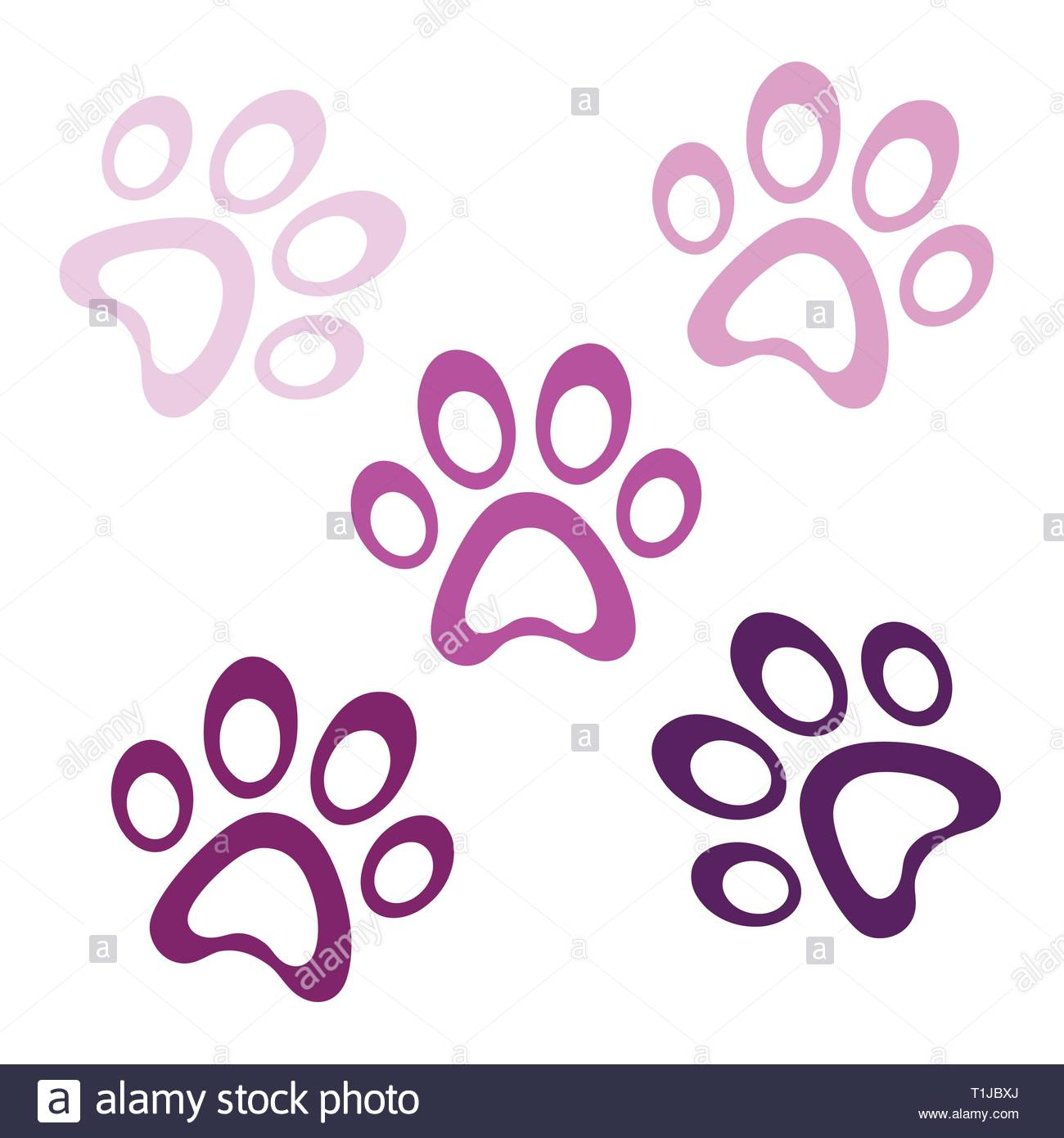 Violet paw prints icon on white background, paws logo icon, animal footprint template vector, isolated vector Illustration - Stock Vector