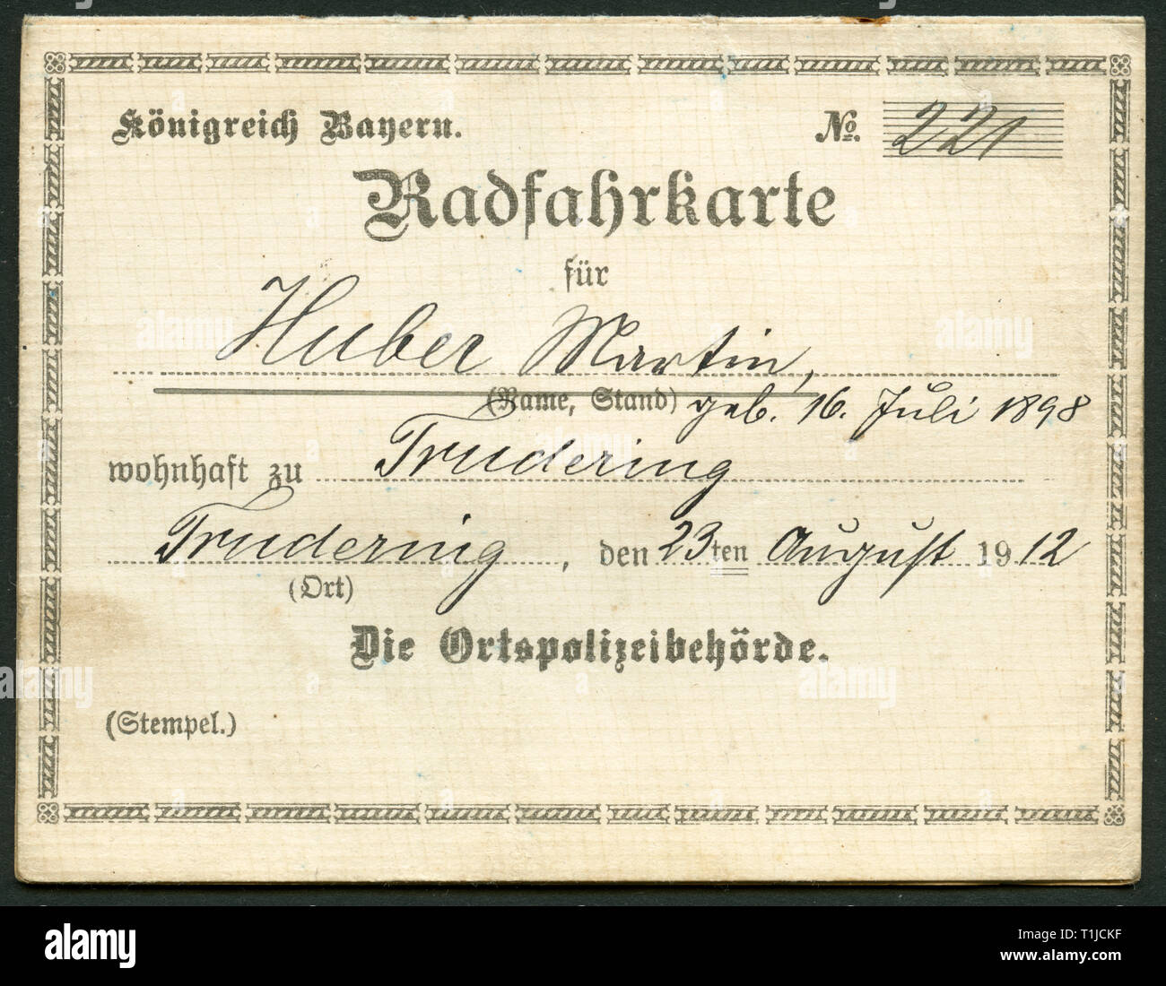 documents, Germany, kingdom of Bavaria, Trudering, bicycle identification card for Martin Huber, issued  23.08.1912 together with the orders for cycling from the 29.09.1907., Additional-Rights-Clearance-Info-Not-Available Stock Photo