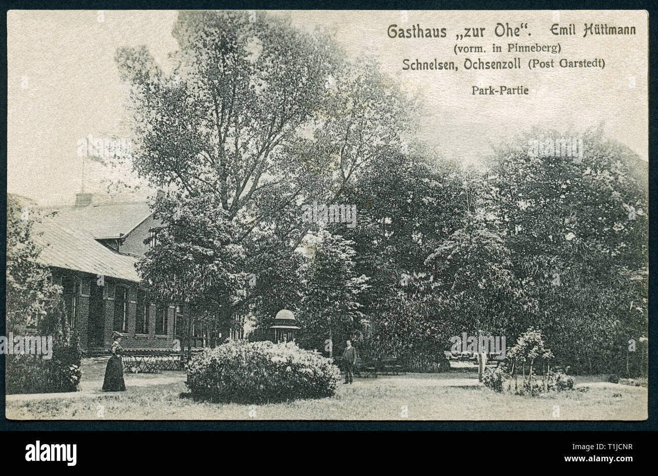 geography / travel, Germany, Hamburg, Schnelsen, restaurant ' zur Ohe', Emil Hüttmann, postcard, sent between 1903 and 1908, published by Roepke and Woostmann, Hamburg., Additional-Rights-Clearance-Info-Not-Available - Stock Image