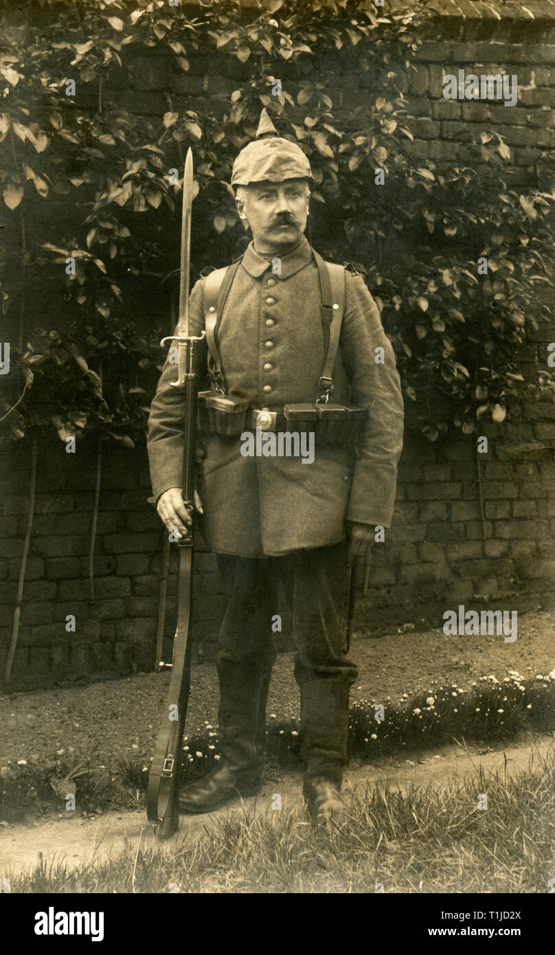 WW I, German soldier / Franz Feltz / in Namur, Belgium, with spiked helmet, postcard sent 27.05.1915., Additional-Rights-Clearance-Info-Not-Available Stock Photo