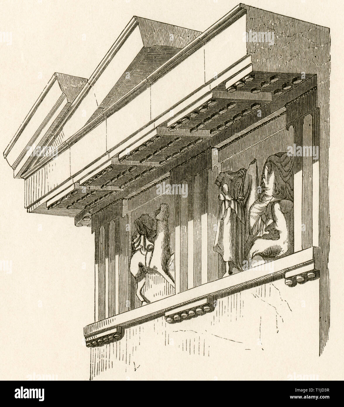 """ancient world, Greece, Doric frieze and sims, illustration from: """"Kunsthistorische Bilderbogen """" (Art history image gallery), first part, published by E. A. Seemann, Leipzig, 1878., Additional-Rights-Clearance-Info-Not-Available Stock Photo"""