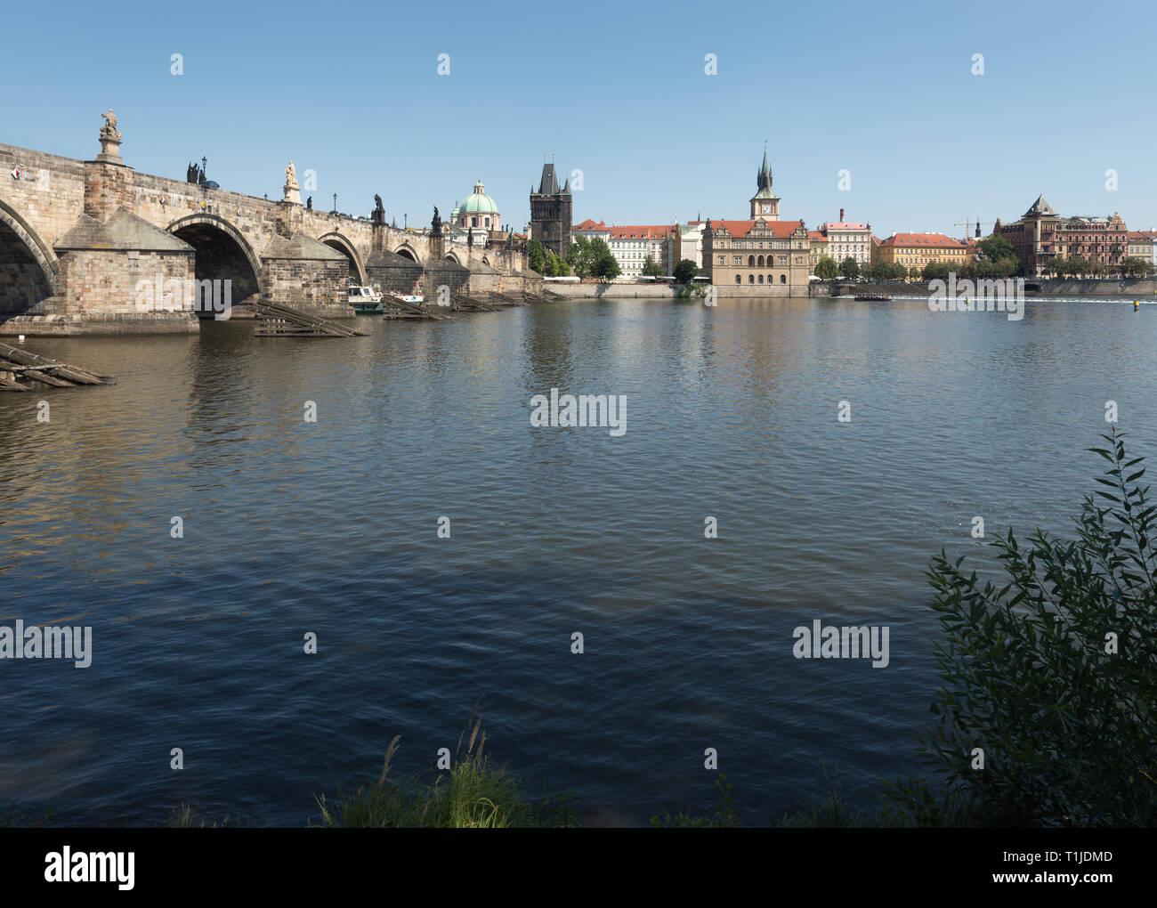 Prague: the Vltava river, Old Town - Stock Image