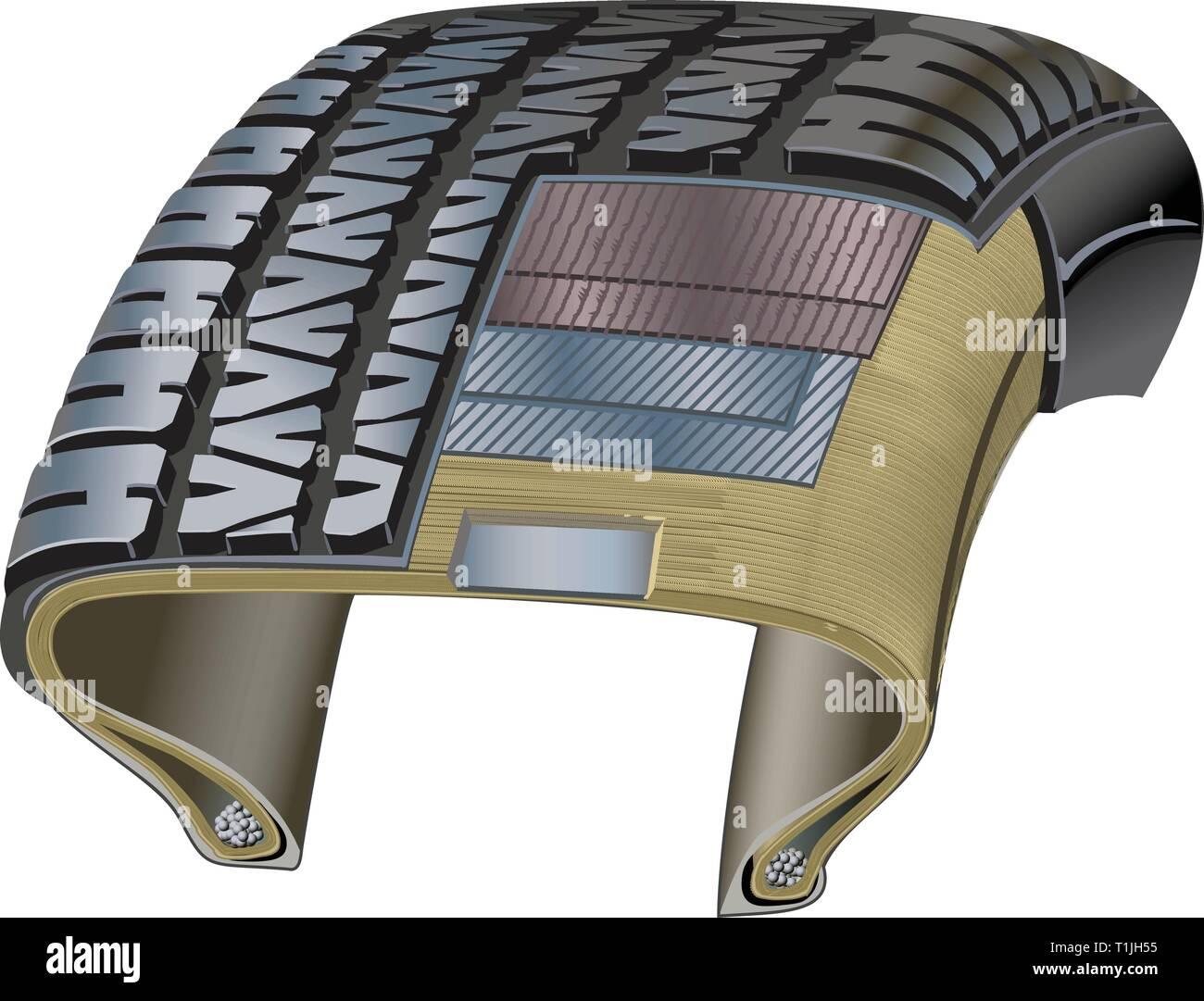 Tire Cross-section showing various layers used in construction. - Stock Vector