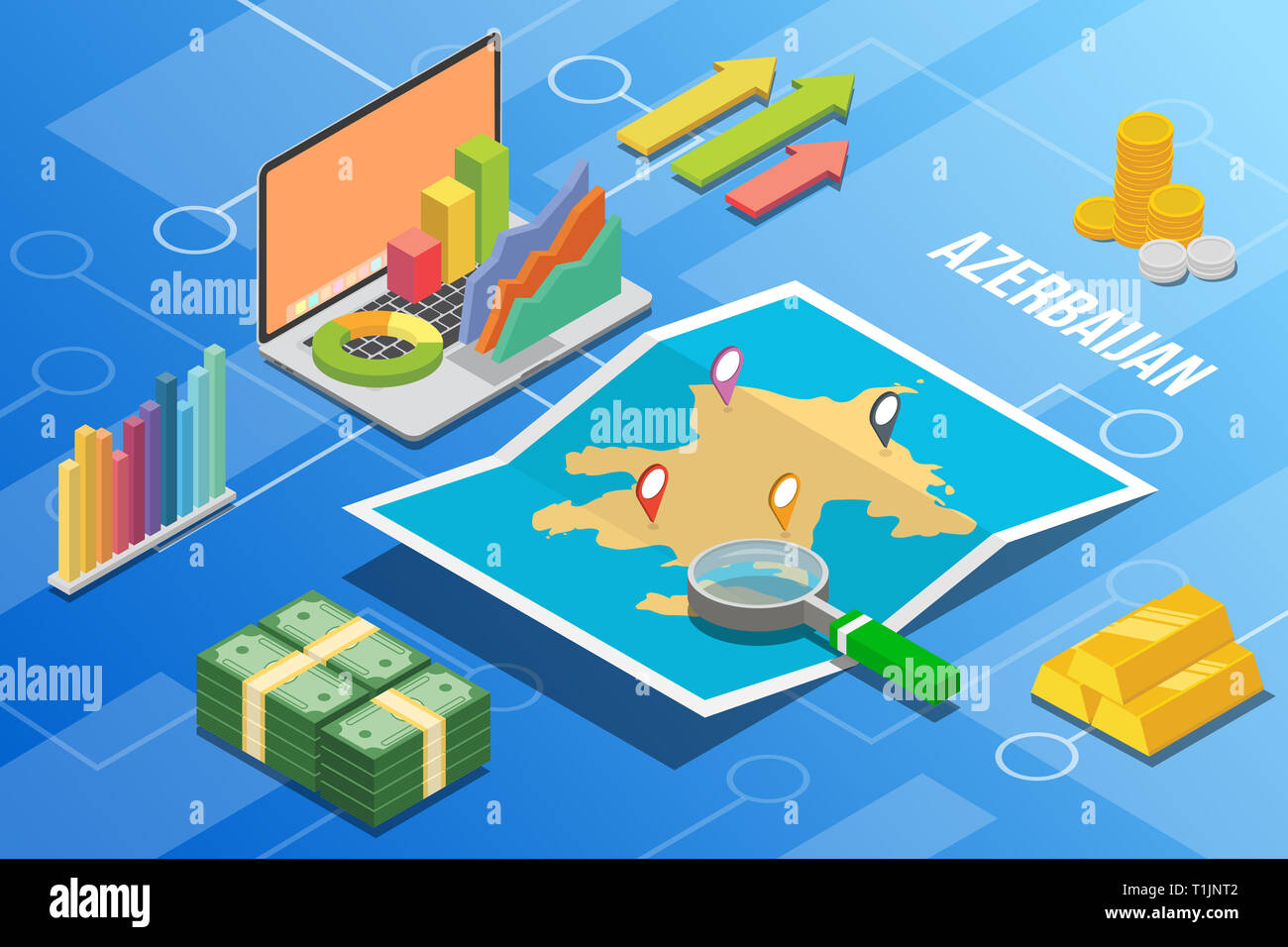 azerbaijan eurasia isometric business economy growth country with map and finance condition - vector - Stock Image