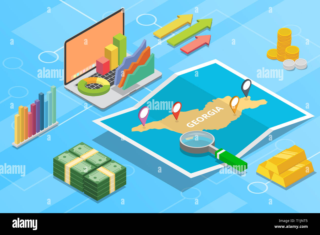 georgia isometric business economy growth country with map and finance condition - vector - Stock Image