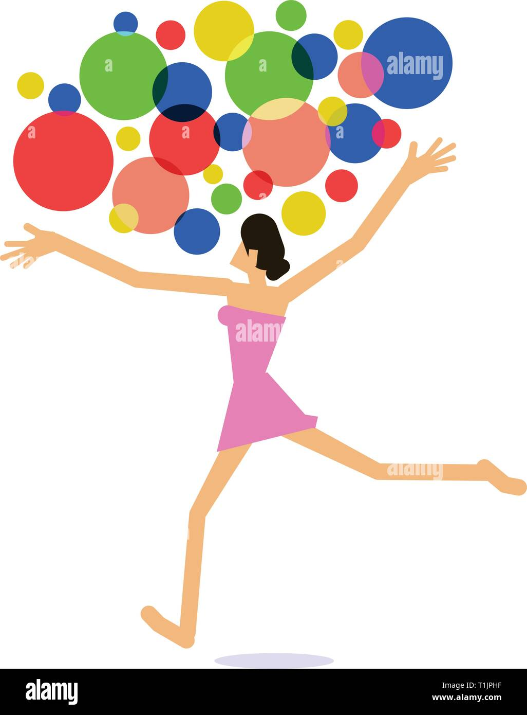 Girl dancing with multi-colored balloons - Stock Vector