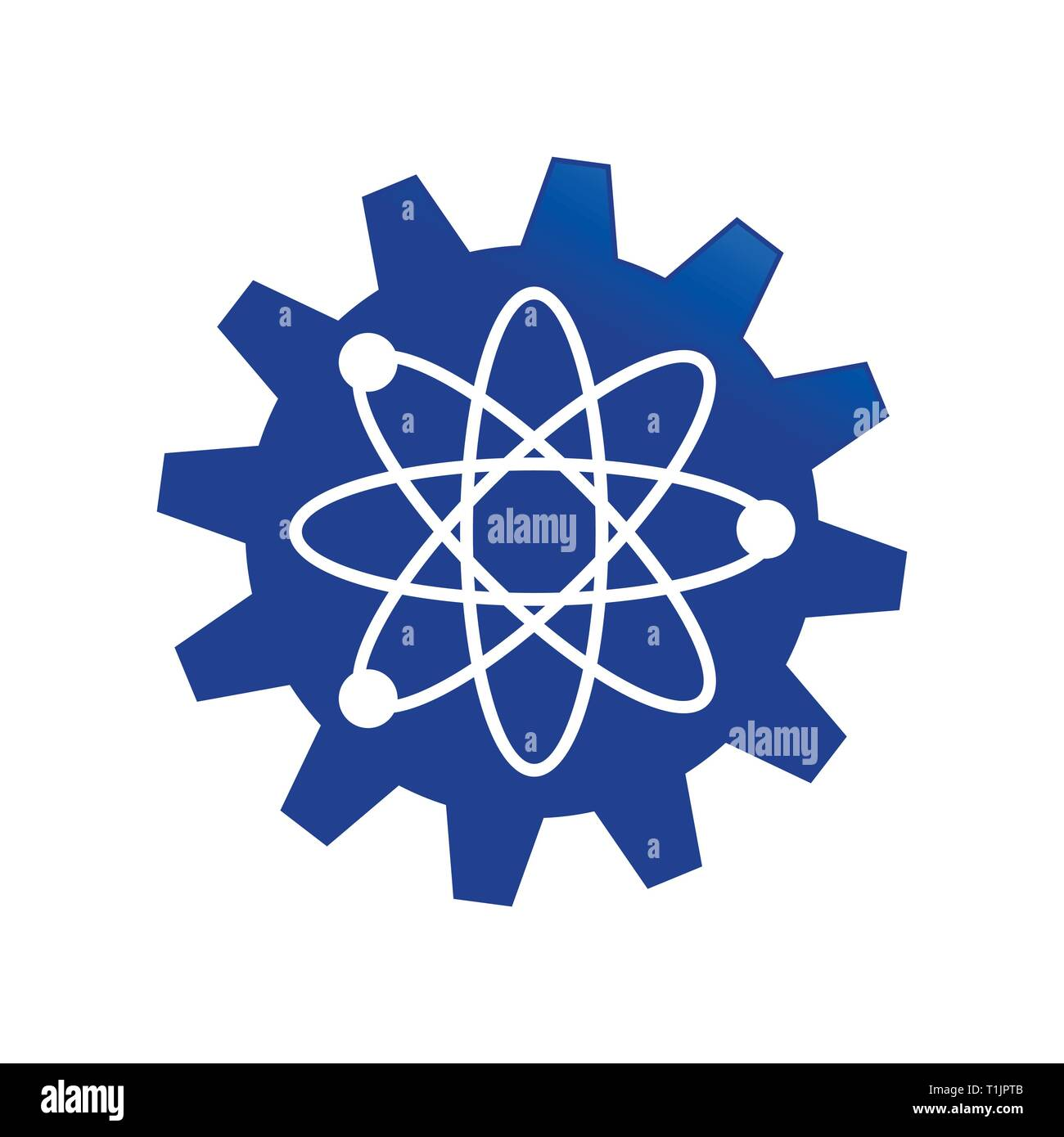 Blue Gear Cog Science Engineering Atom Vector Symbol Graphic